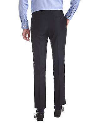 Arrow Newyork Blue Tapered Fit Solid Trousers