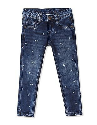 Cherokee Blue Girls Slim Fit Washed Jeans