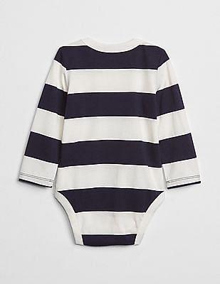 GAP Baby White Striped Long Sleeve Bodysuit