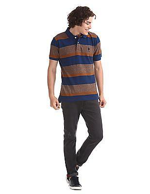 U.S. Polo Assn. Brown And Blue Striped Polo Shirt