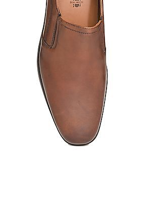 Johnston & Murphy Square Toe Leather Slip On Shoes