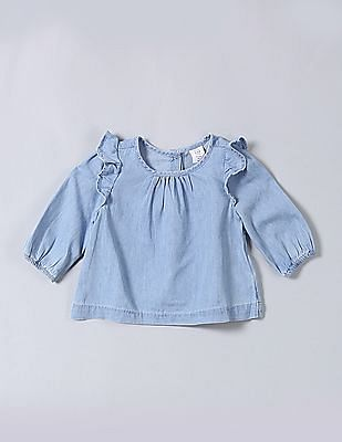 GAP Baby Ruffle Sleeve Chambray Top