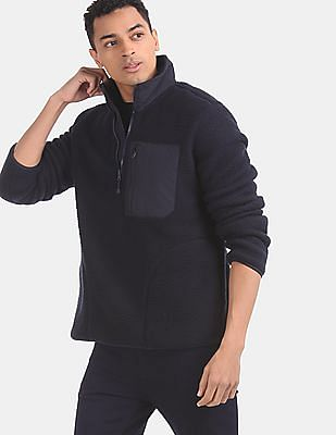 GAP Men Blue Fleece Half Zip Jacket
