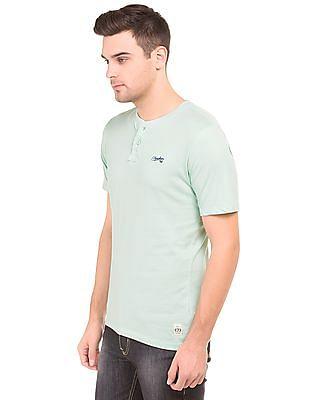 Cherokee Solid Cotton Henley T-Shirt
