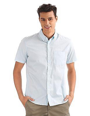 GAP Men Blue Printed Short Sleeve Poplin Shirt