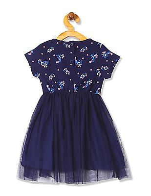 Cherokee Girls Floral Print Tulle Dress
