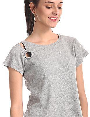 Aeropostale Grey Shoulder Cutout Heathered Top