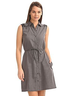 Cherokee Washed Denim Shirt Dress