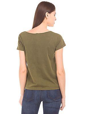 Flying Machine Women Layered Neck Regular Fit T-Shirt