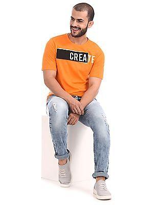 Colt Orange Printed Panel Crew Neck T-Shirt