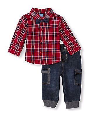 The Children's Place Baby Boy Bow Tie Denim Set