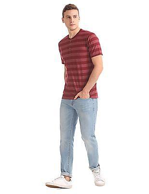 Aeropostale Striped Henley T-Shirt
