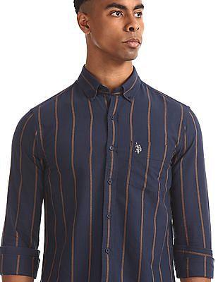 U.S. Polo Assn. Blue Button Down Collar Vertical Stripe Shirt