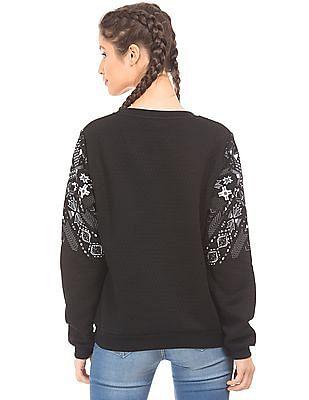 EdHardy Women Round Neck Printed Sweatshirt
