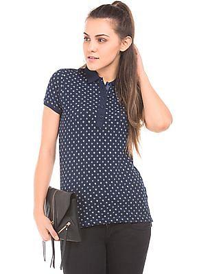 U.S. Polo Assn. Women Printed Regular Fit Polo Shirt