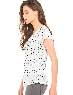 Flying Machine Women Polka Print Regular Fit T-Shirt