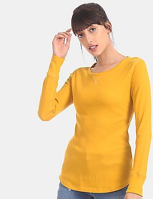 GAP Women Yellow Long Sleeve Waffle Knit T-Shirt