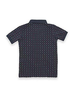 U.S. Polo Assn. Kids Boys Star Print Pique Polo Shirt