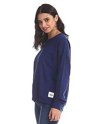 Flying Machine Women Blue Panelled Solid Sweatshirt