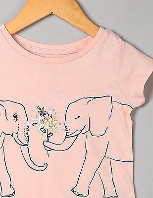 GAP Toddler Girl Pink Graphic Short Sleeve T-Shirt