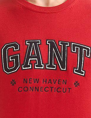 Gant Crew Neck Appliqued Sweater