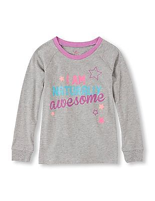 The Children's Place Girls Long Sleeve Heathered Top