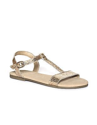 The Children's Place Girls Glitter T-Strap Sandal