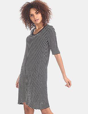 GAP Women Black Striped Rib Swing Dress