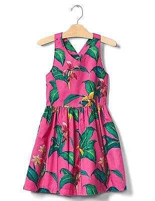 GAP Girls Pink Tropics Cross-Back Dress