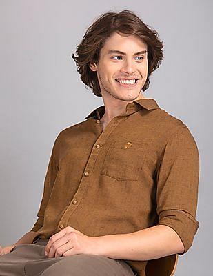 True Blue Brown Slim Fit Solid Shirt