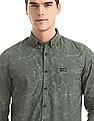 U.S. Polo Assn. Denim Co. Green Button Down Collar Printed Shirt