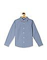 The Children's Place Boys Blue Allover Print Chambray Shirt