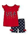The Children's Place Toddler Girl Red Americana Short Flutter Sleeve Top And Star Print Knit Shorts Set