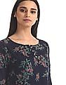 Cherokee Blue Floral Print Boxy Top