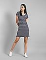 GAP Blue V-Neck Striped T-Shirt Dress