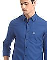 U.S. Polo Assn. Blue Concealed Button Down Collar Solid Shirt