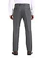 Arrow Newyork Grey Flat Front Tapered Fit Trousers