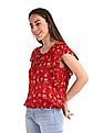 SUGR Red Floral Print Blouson Top