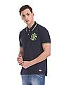 Flying Machine Embroidered Applique Pique Polo Shirt
