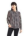 Elle Studio Blue Vertical Stripe Pussybow Shirt