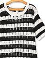 U.S. Polo Assn. Women Black And White Flat Knit Striped Top