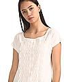 Cherokee White Round Neck Lace Front Top