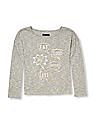 The Children's Place Girls Grey Long Sleeve Wide-Neck Embellished Graphic Sweater Knit Top