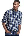 GAP Indigo Twill Plaid Standard Fit Shirt