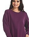 Flying Machine Women Purple Panelled Solid Sweatshirt