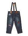 Donuts Blue Boys Appliqued Jeans With Suspenders