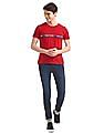 Flying Machine Red Printed Patch Crew Neck T-Shirt