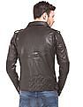 Flying Machine Grained Slim Fit Biker Jacket
