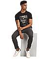 Flying Machine Black Printed Front Cotton T-Shirt