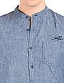 Ed Hardy Mandarin Collar Chambray Shirt